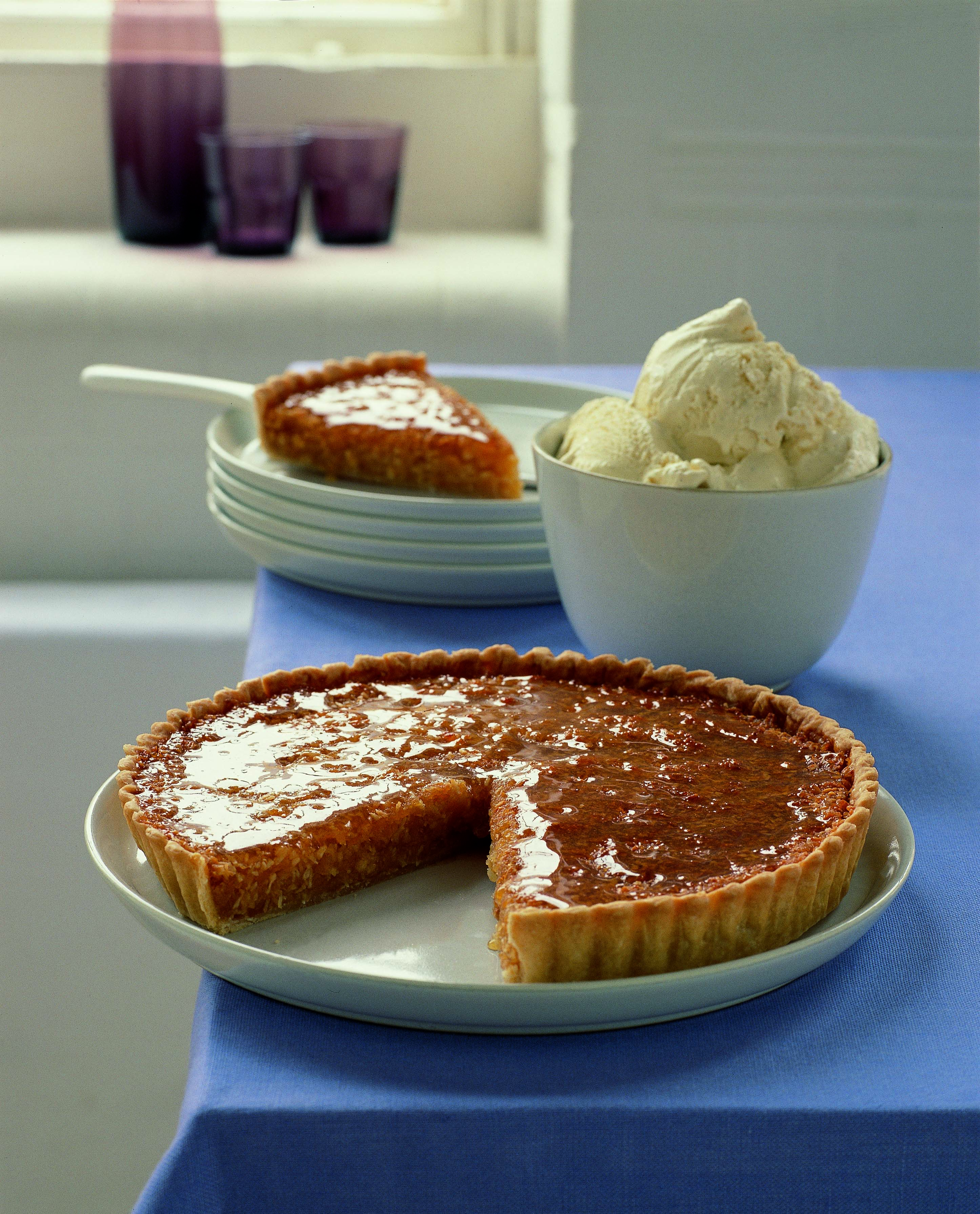 Coconut Treacle Tart With Quick Clotted Cream Ice Cream Ainsley Harriott